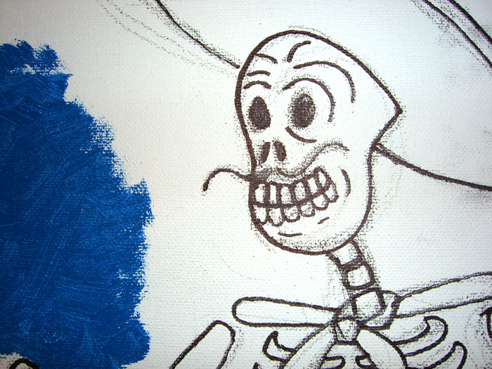 Painting Calavera Face Close up