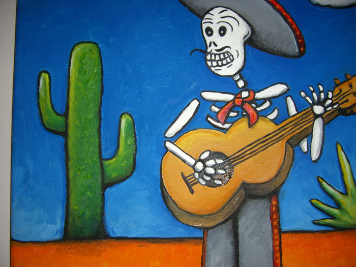 Painting Calavera blended colors