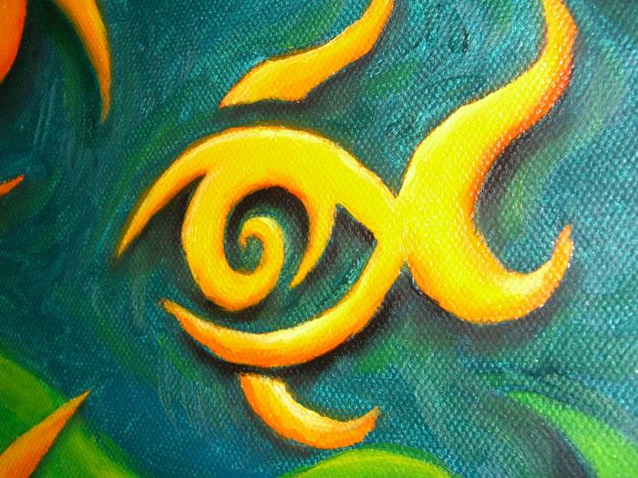 Painting fisheye one close up fish