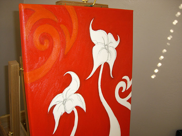 Painting Flower Two red coat of paint