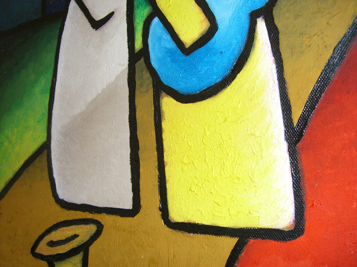 Painting close up musicos