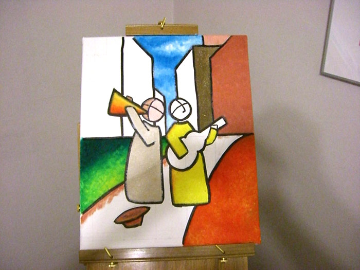 Painting musicos stained glass