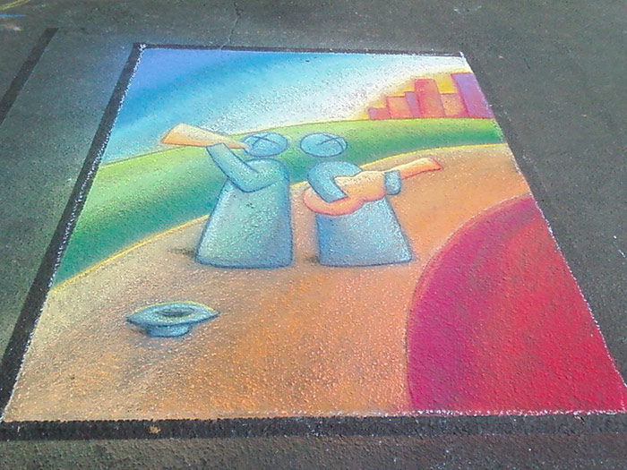 Art Hop Banning Chalk Mural Final