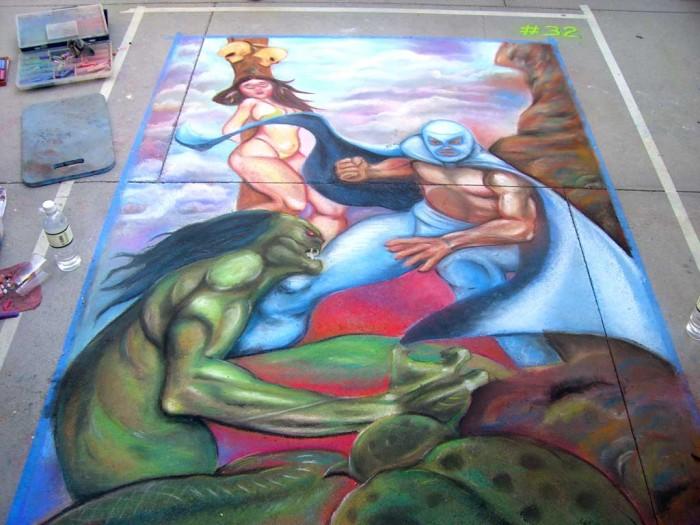 14 Pasadena Chalk Mural El Santo