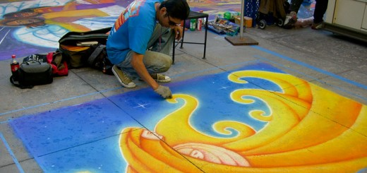 Henry Colchado - Mother Child mural with chalk