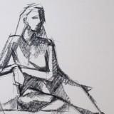 Henry Colchado figure drawing woman sitting - block style