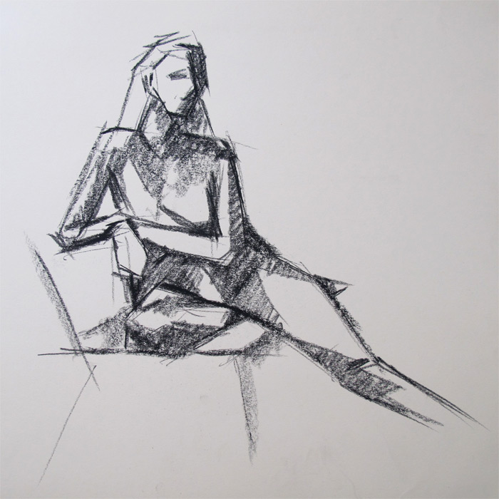 Henry Colchado figure drawing woman sitting - block style
