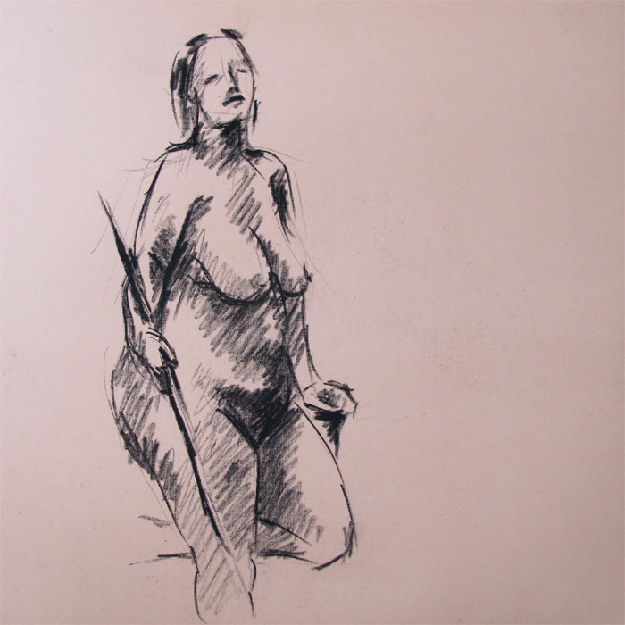 Henry Colchado - figure drawing - woman with stick