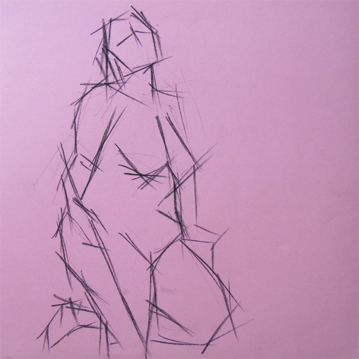 Henry Colchado - Figure Drawing Sketch - woman with rope