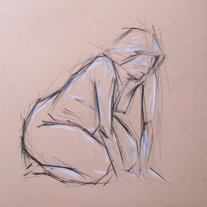 Henry Colchado - block drawing sketch - woman on her knees
